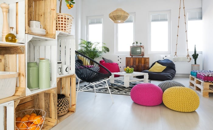 Pallet crates in living room