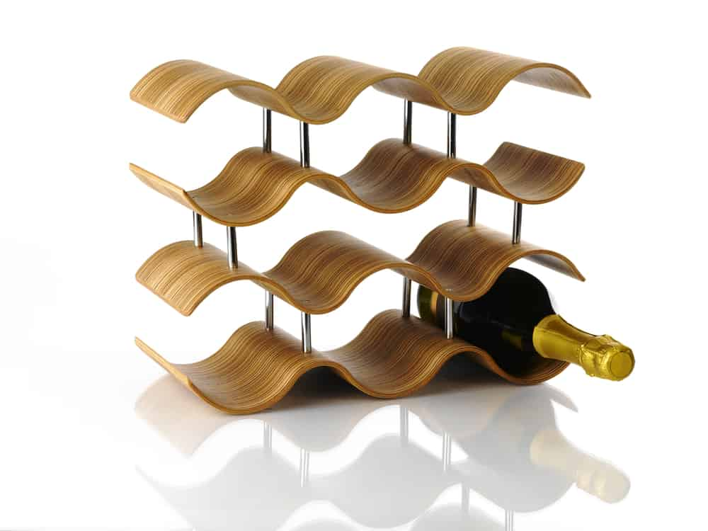 Wine,Rack,On,White,Background,With,Champagne,Bottle.