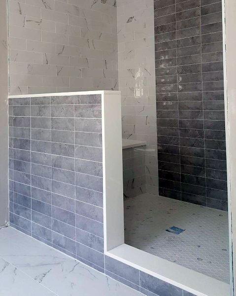 Half Wall Partition Doorless Walk In Shower Ideas