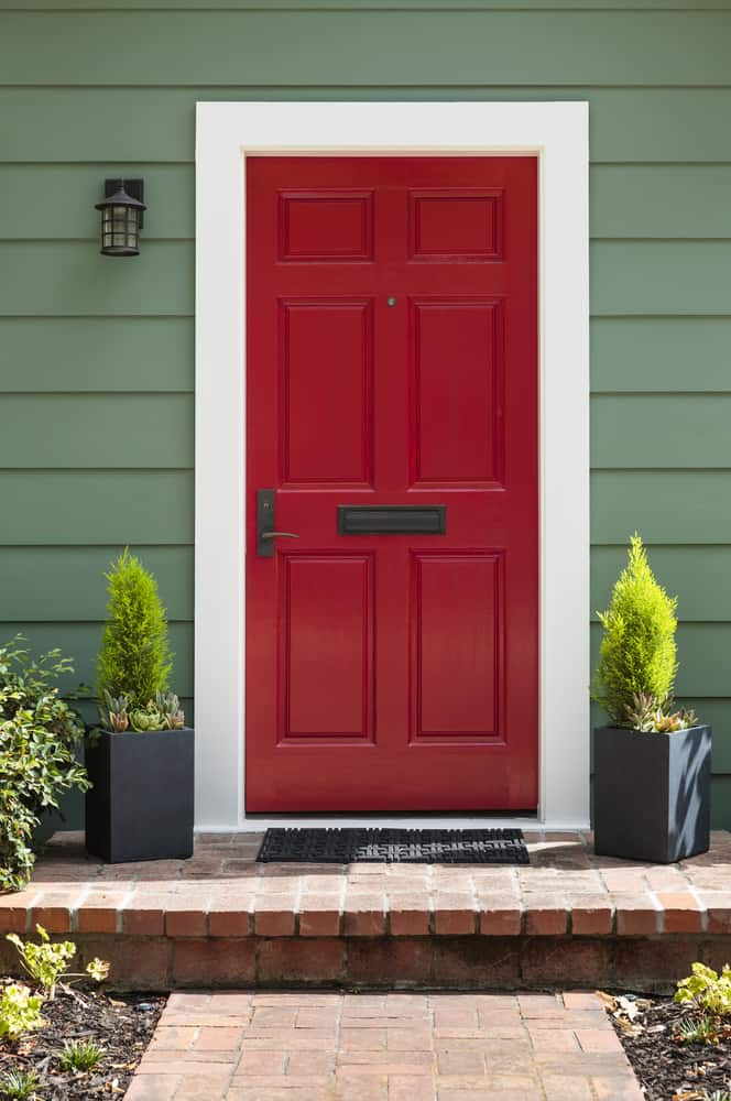 Front,View,Of,A,Bright,Red,Front,Door.
