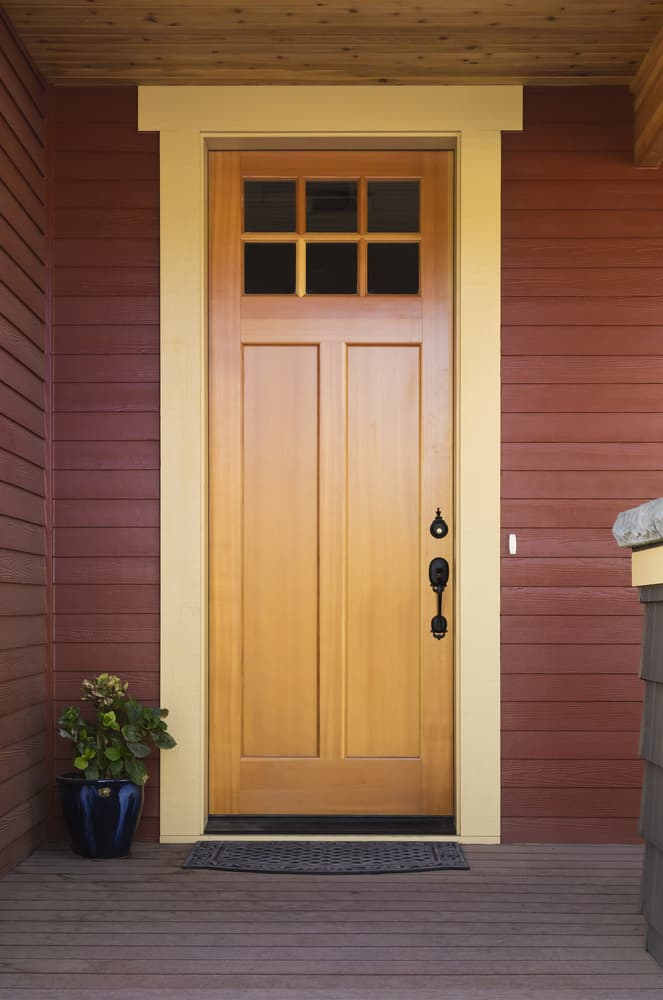 Wooden,Front,Door,Of,An,Upscale,Home.,View,Of,A