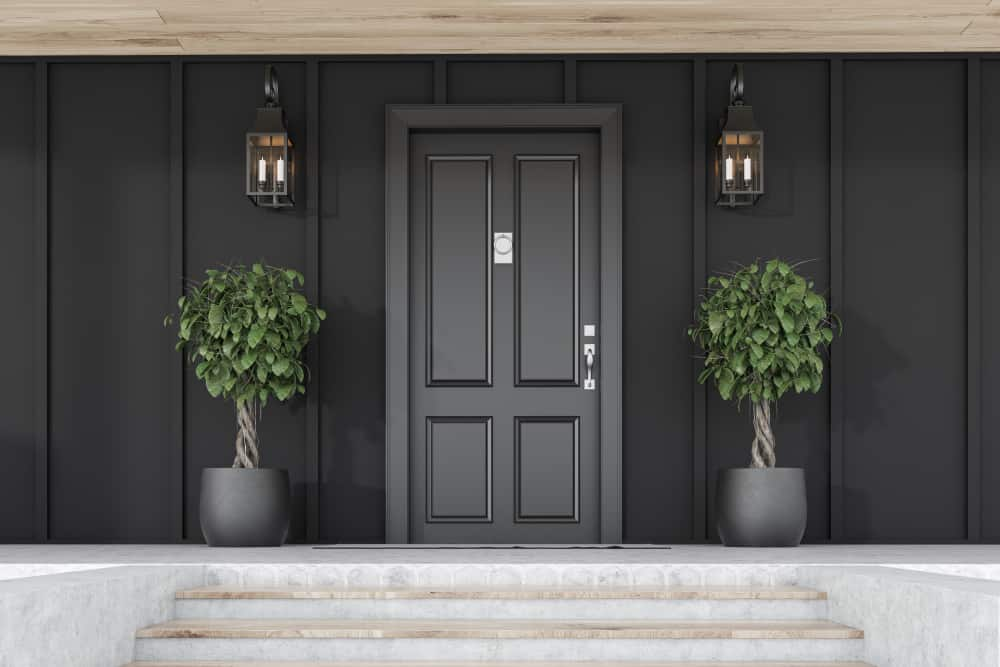 Stylish,Black,Front,Door,Of,Modern,House,With,Black,Walls,