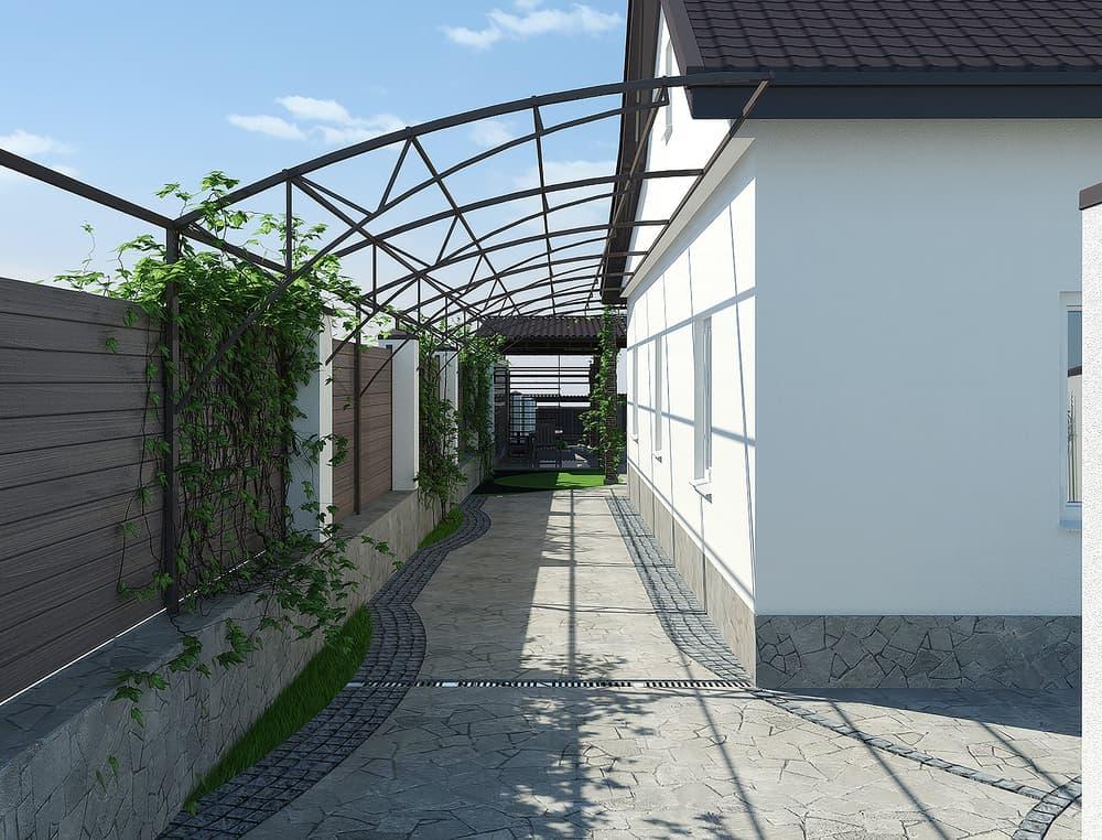 Side,Yard,Landscaping,,3d,Render