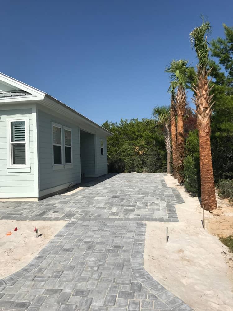 Stonework,Backyard,Pavers,Remodel,With,Side,Yard,Driveway