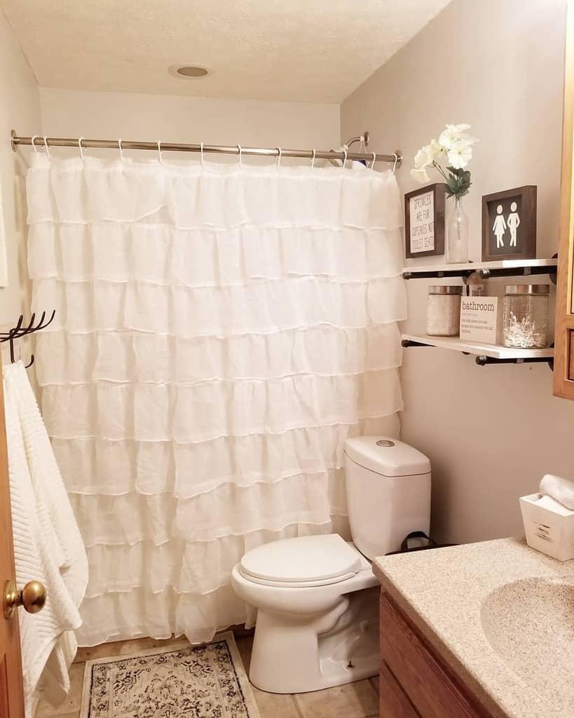 Ruffled Shower Curtain Ideas -sutton.farmhouse