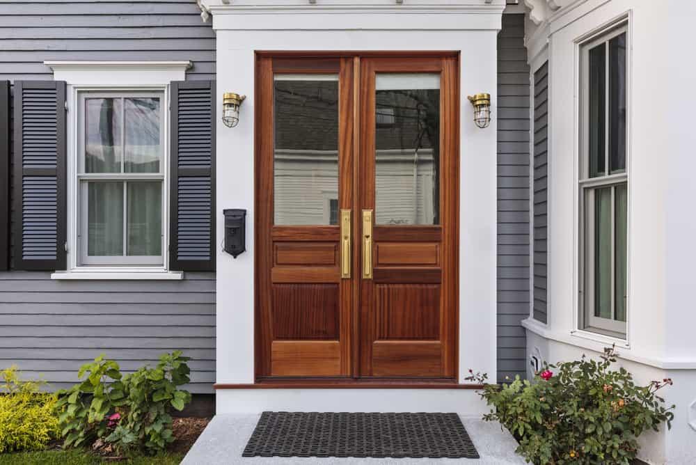 Front,Door,,Double,Brown,Front,Door,With,A,Secured,Front