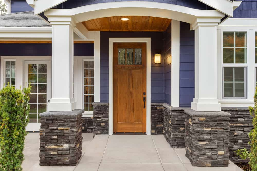 New,Luxury,Home,Exterior,Detail:,New,House,Front,Door,And