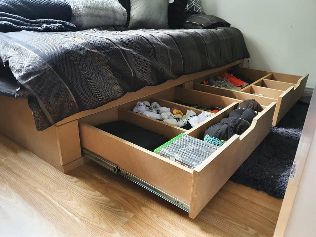 Under Bed Clothes Storage Ideas -tobywardcarpentry