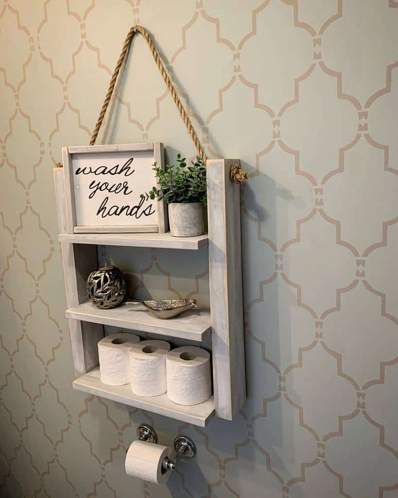Wall Hang Over The Toilet Storage Ideas -kellysdiyprojects