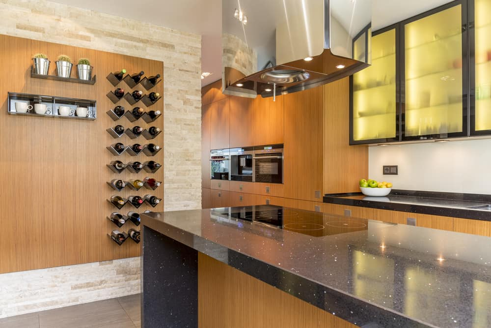 Glamourous,Kitchen,With,Wooden,Cabinets,And,Wine,Racks