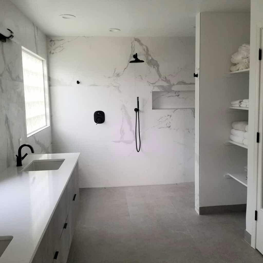 White Doorless Walk In Shower Ideas -wellnessbyjen