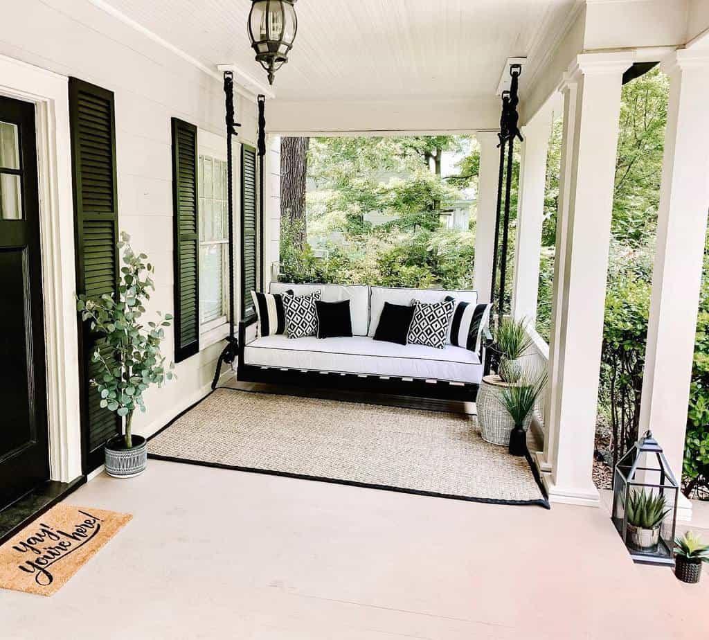 White Front Porch Decorating Ideas -johnston.escapes