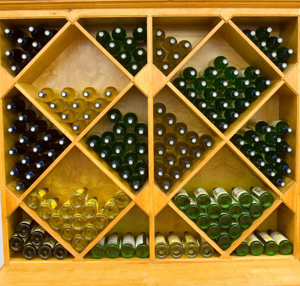 Color,Dslr,Picture,Of,Geometric,Wine,Rack,With,Multiple,Bottles
