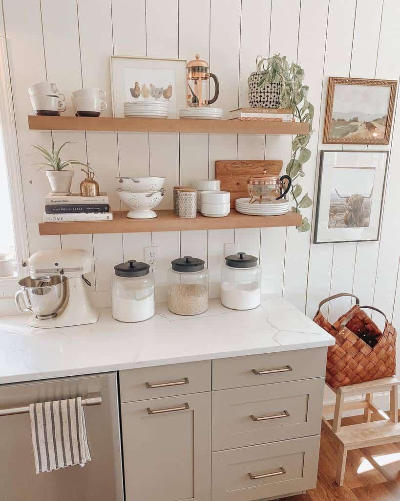 DIY Kitchen Shelf Ideas -wildwillowsfarm