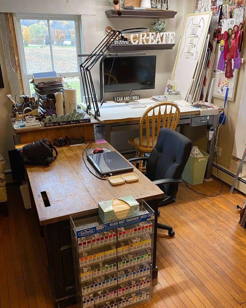 Desk Art Studio Ideas -lynndprattpaint