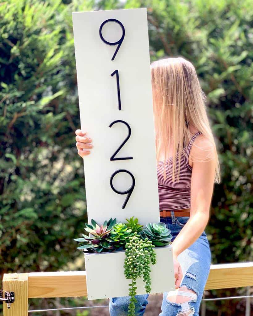 House Number Ideas with Planter -simplykaitdesigns