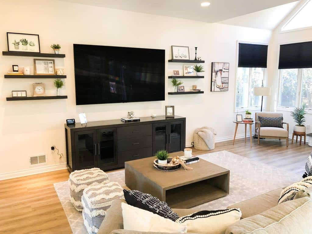 Livingroom Floating Shelves Ideas -jverainteriors