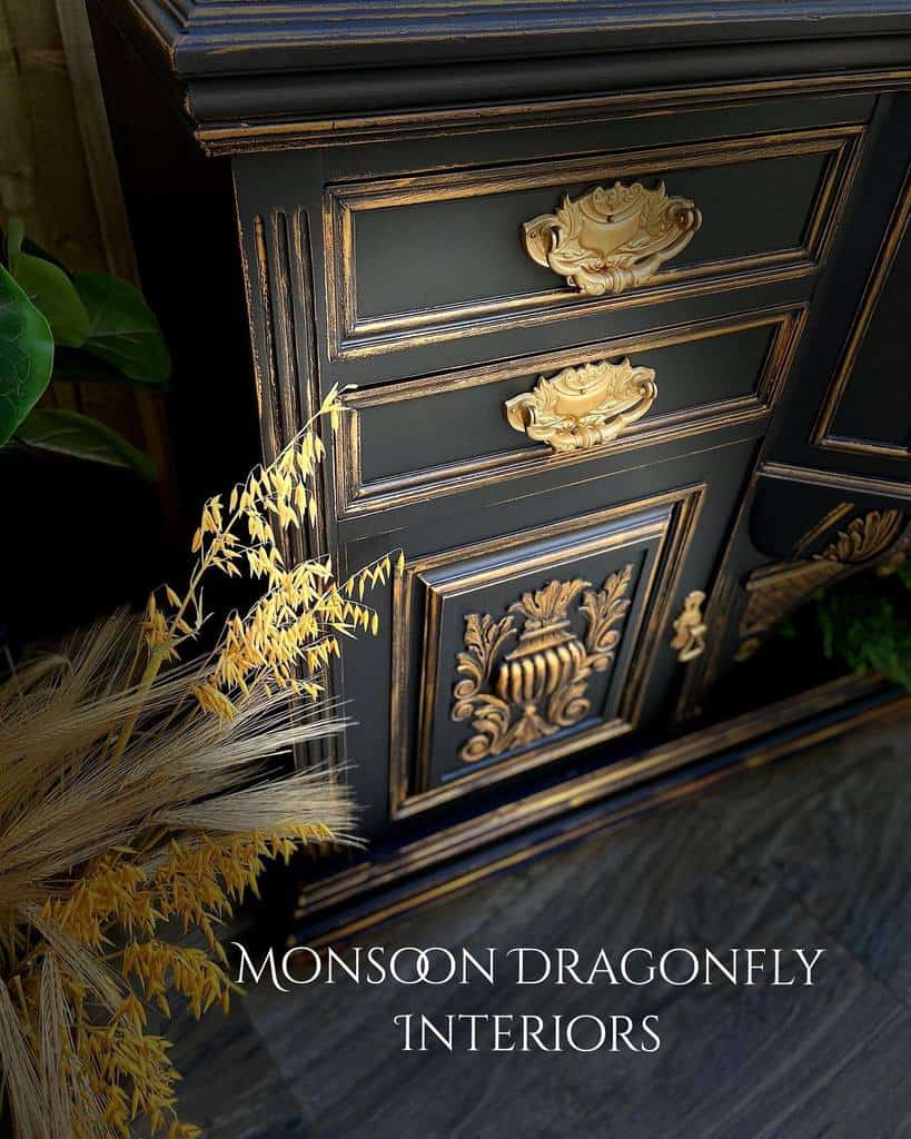 Metallic Highlights and Accents Chalk Paint Furniture Ideas -monsoondragonflyinteriors