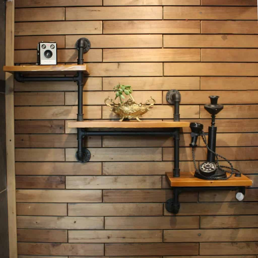 Small Floating Shelves Ideas -pipe_decoration