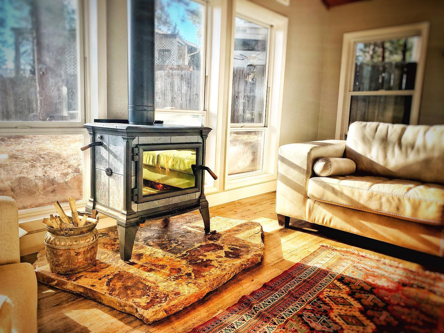 Rustic Wood Stove Hearth Ideas -j__armstrong
