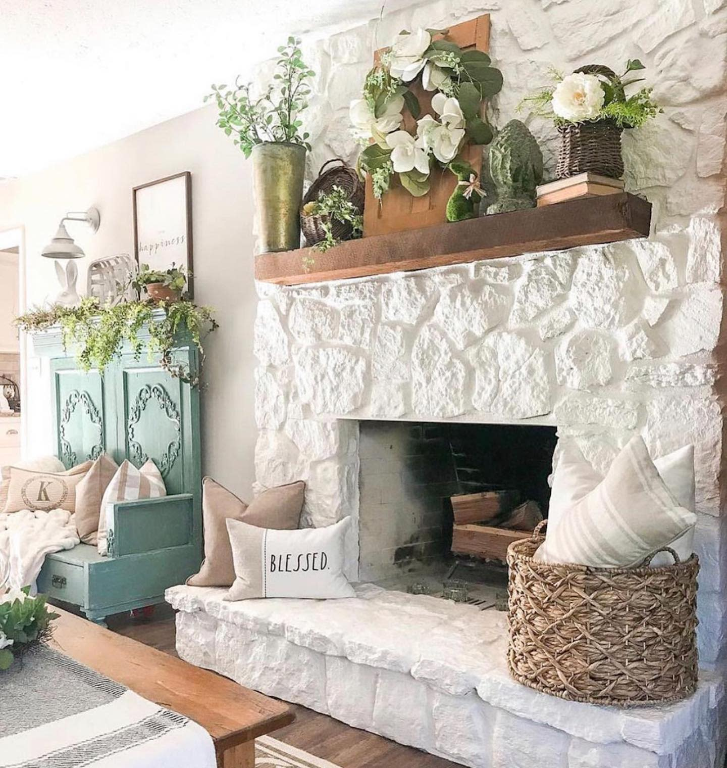Cottage Fireplace Decor Ideas -delightedwiththedetails