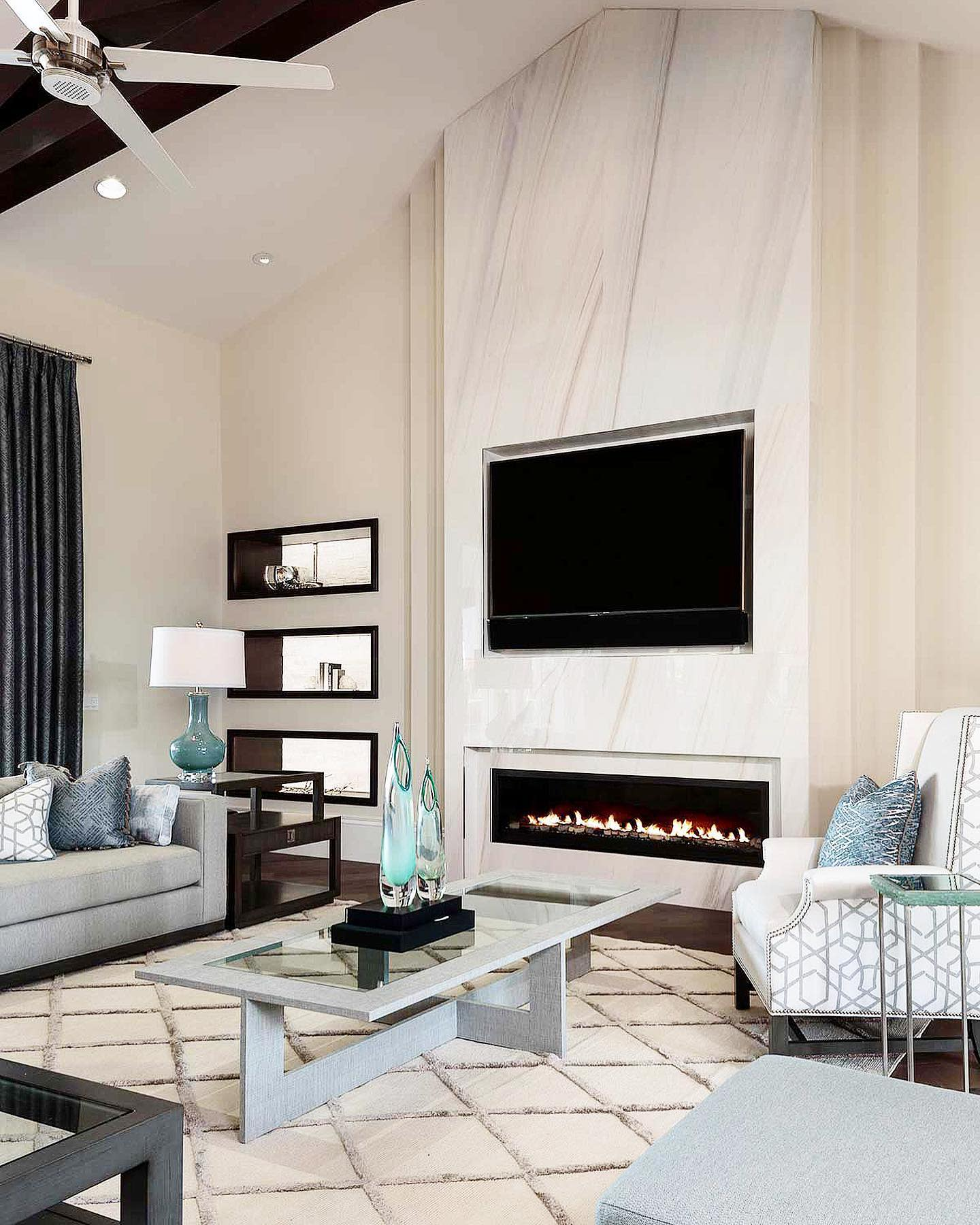 Fireplace Feature Wall Accent Wall Ideas for Living Room -allisonkeevandesign