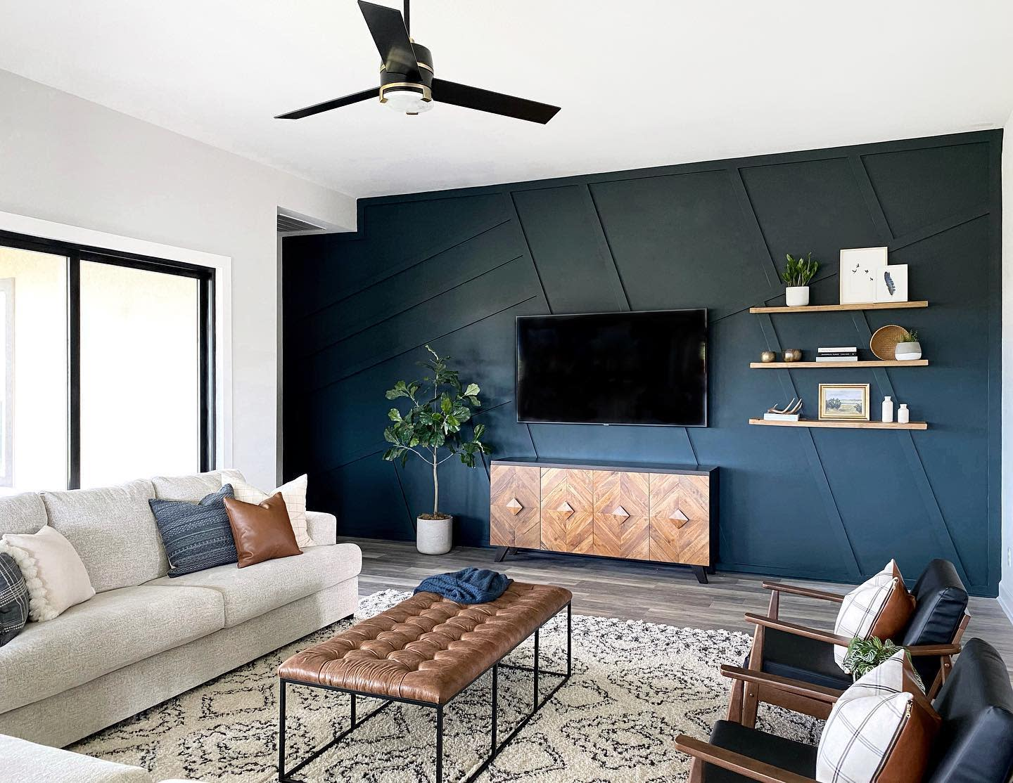Panelling Accent Wall Ideas for Living Room -loveresideshere