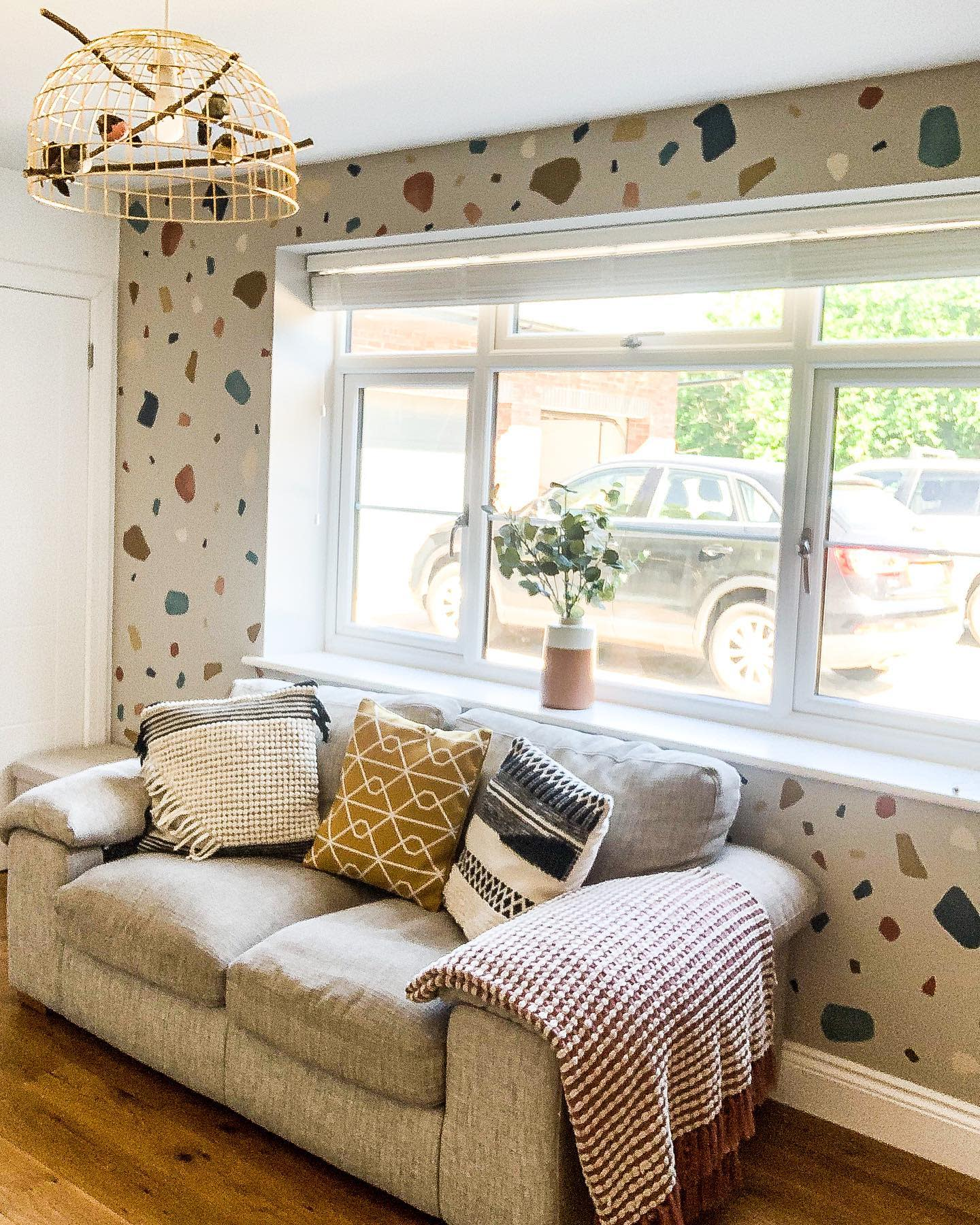 Wallpaper Accent Wall Ideas for Living Room -redbricks_lifestyle