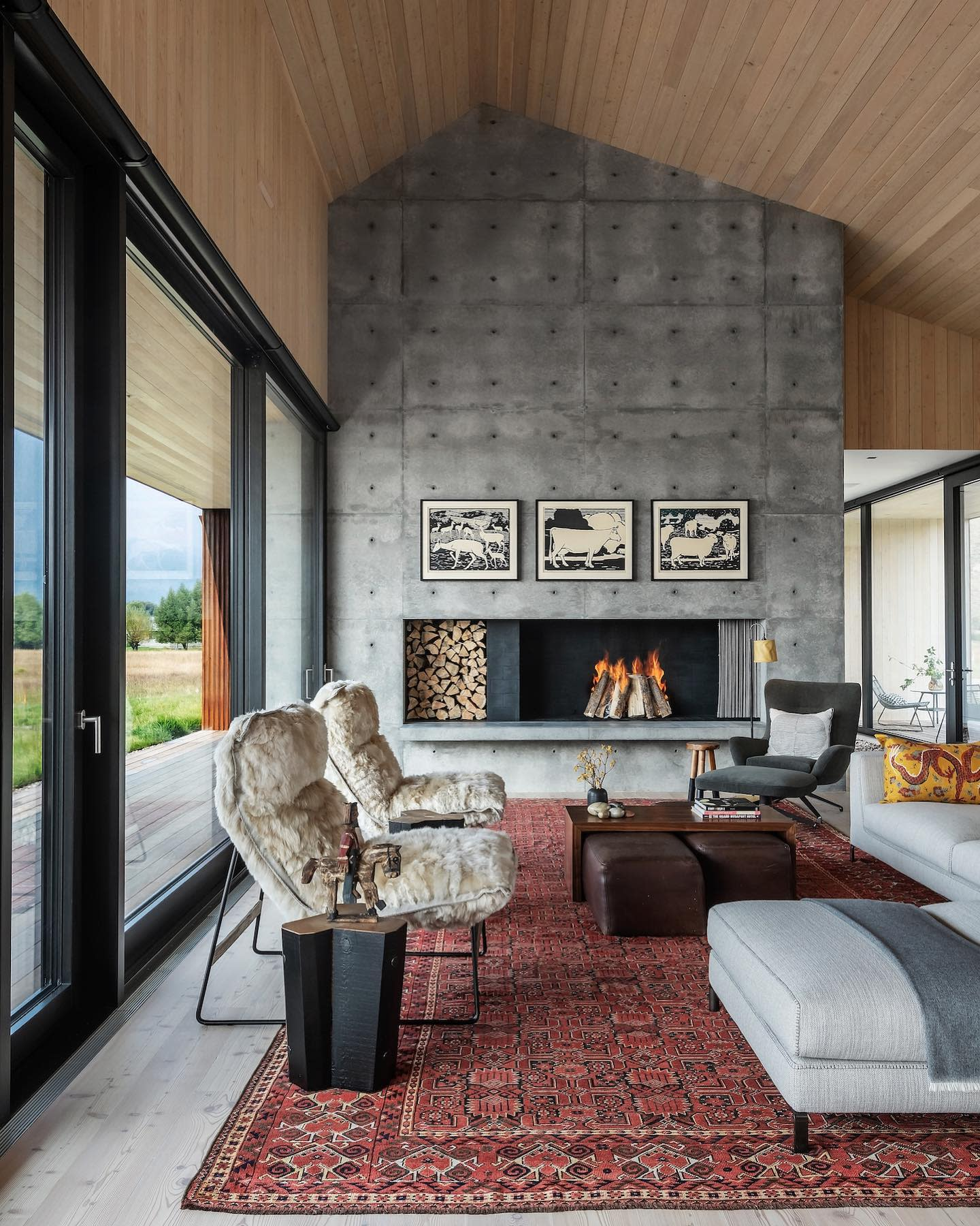 Concrete Fireplace Wall Ideas -clbarchitects