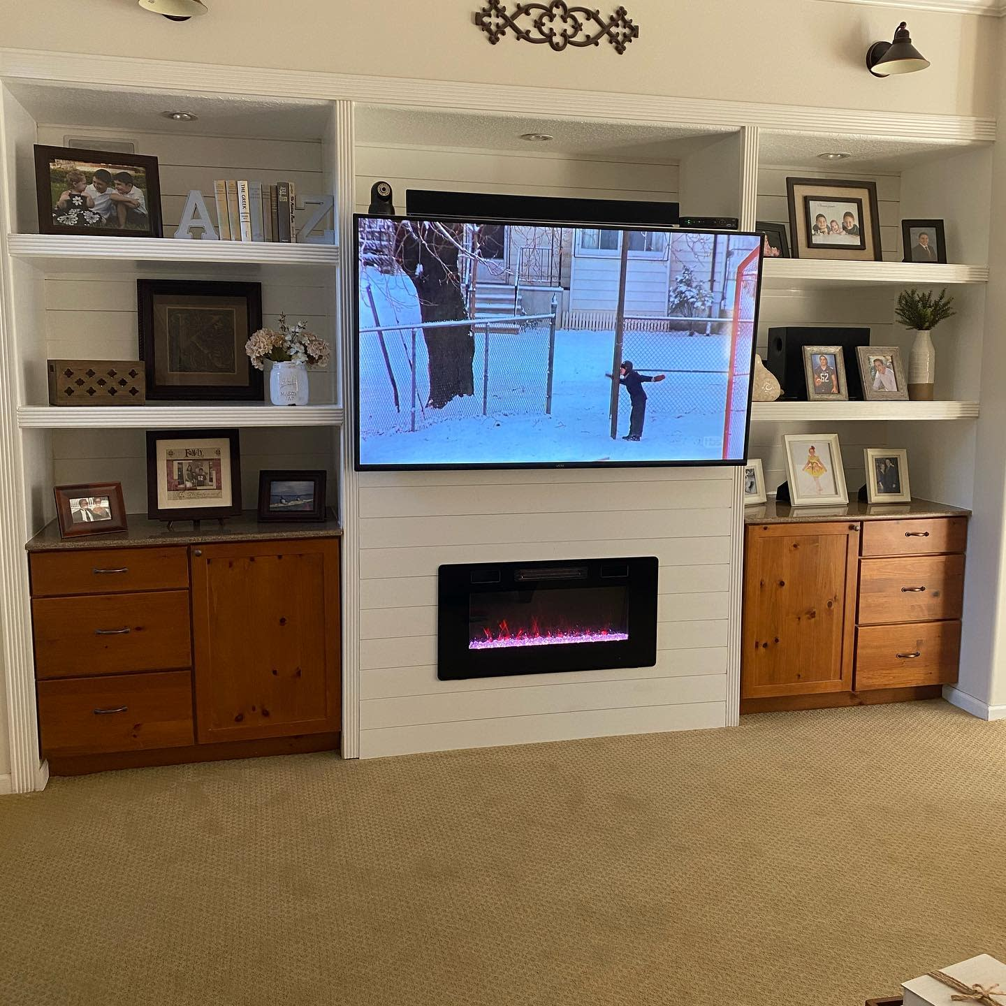 DIY Fireplace Wall Ideas -palm_trees_and_plywood
